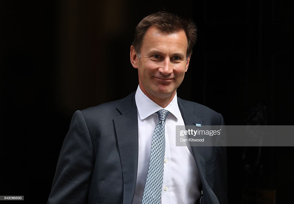 <a gi-track='captionPersonalityLinkClicked' href=/galleries/search?phrase=Jeremy+Hunt+-+Politician&family=editorial&specificpeople=9161543 ng-click='$event.stopPropagation()'>Jeremy Hunt</a>, Secretary of State for Health leaves Downing Street following a cabinet meeting on June 27, 2016 in London, England. British Prime Minister David Cameron chaired an emergency Cabinet meeting this morning, after Britain voted to leave the European Union. Chancellor George Osborne spoke at a press conference ahead of the start of financial trading and outlining how the Government will 'protect the national interest' after the UK voted to leave the EU.