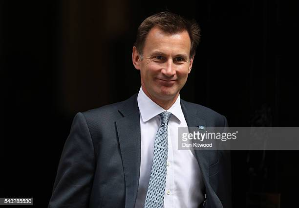 Jeremy Hunt Secretary of State for Health leaves Downing Street following a cabinet meeting on June 27 2016 in London England British Prime Minister...