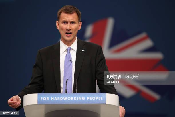 Jeremy Hunt the Secretary of State for Health delivers his speech in the Main Hall of Manchester Central on the third day and penultimate day of the...