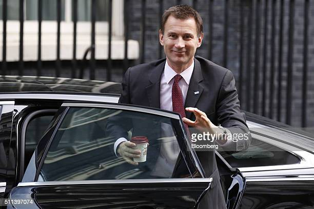 Jeremy Hunt UK health secretary arrives for a cabinet meeting at Downing Street London UK on Friday Feb 20 2016 European Union leaders reached a deal...