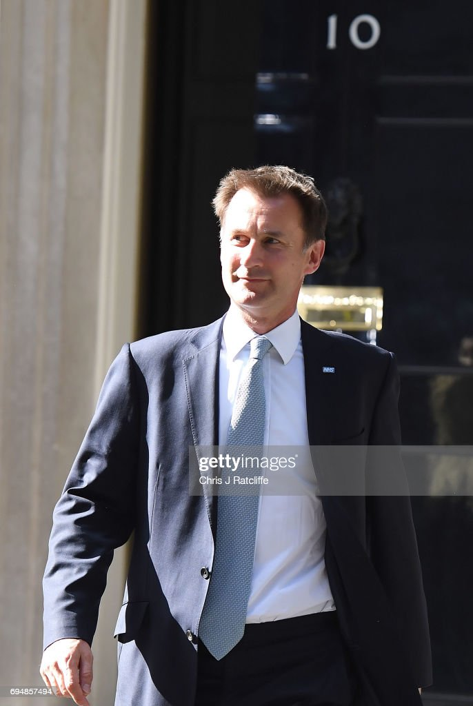 Jeremy Hunt who remains secretary of state for health leaves 10 Downing Street on June 11, 2017 in London, England. Prime Minister Theresa May Re-shuffles her cabinet after the snap general election which failed to return a clear overall majority winner. Theresa May is seeking an agreement with the Northern Ireland's Democratic Unionist Party to form a minority Government.