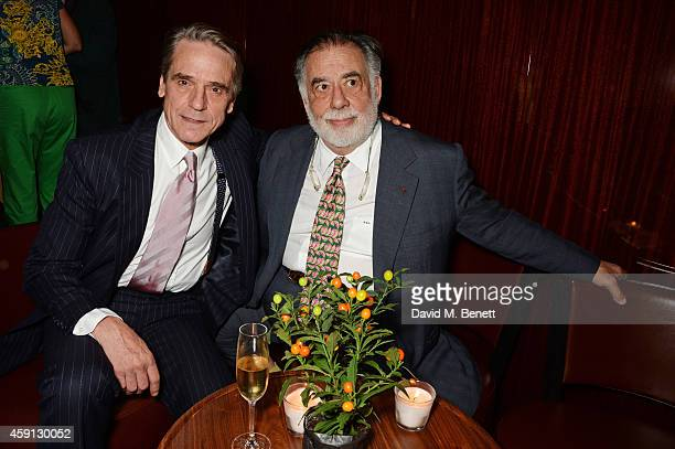 Jeremy Irons and Francis Ford Coppola attend the Liberatum Cultural Honour for Francis Ford Coppola at The Bulgari Hotel on November 17 2014 in...