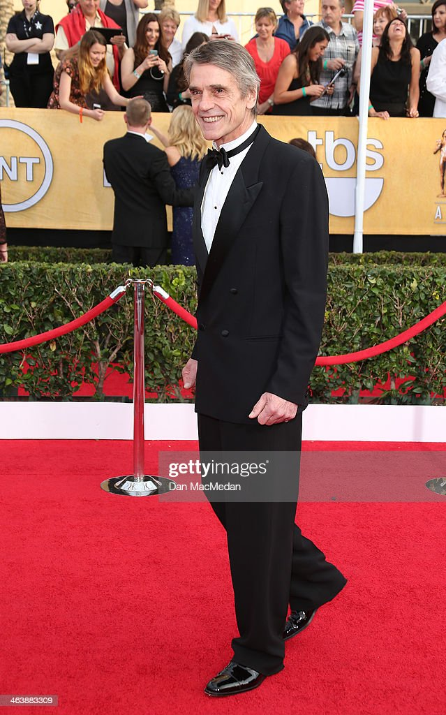 Jeremy Irons arrives at the 20th Annual Screen Actors Guild Awards at the Shrine Auditorium on January 18, 2014 in Los Angeles, California.