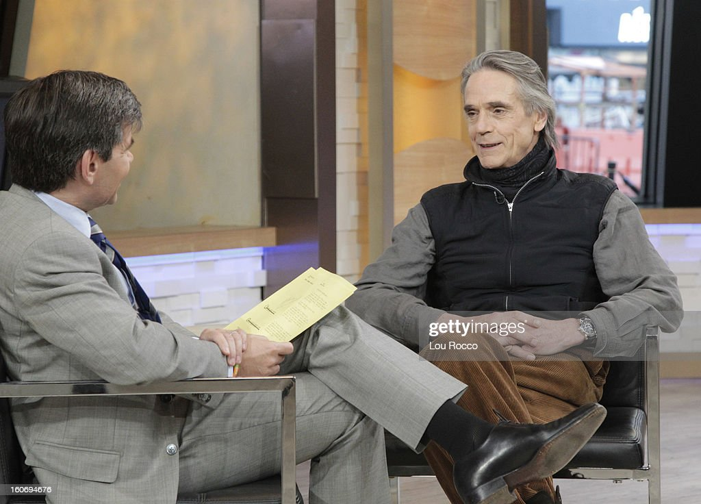 AMERICA - Jeremy Irons is a guest on 'Good Morning America,' 2/4/13, airing on the ABC Television Network. (Photo by Lou Rocco/ABC via Getty Images) JEREMY