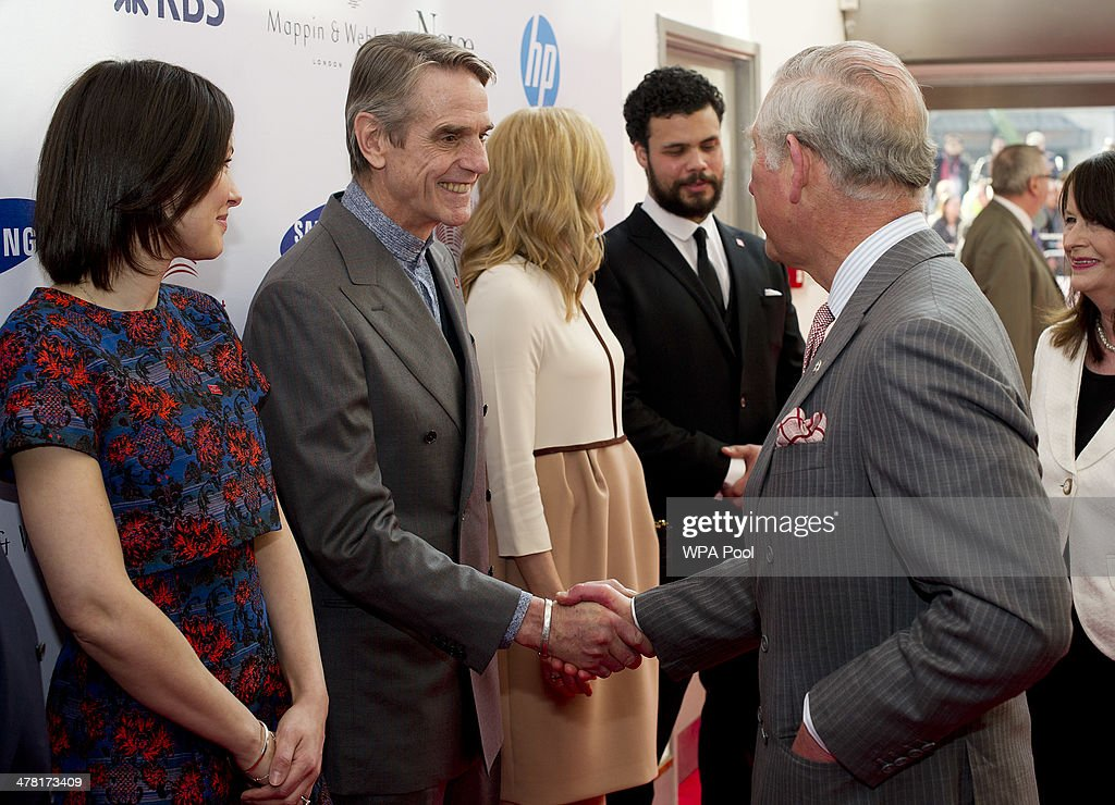 Jeremy Irons meets Prince Charles, Prince of Wales at the Prince's Trust & Samsung Celebrate Success awards at Odeon Leicester Square on March 12, 2014 in London, England.