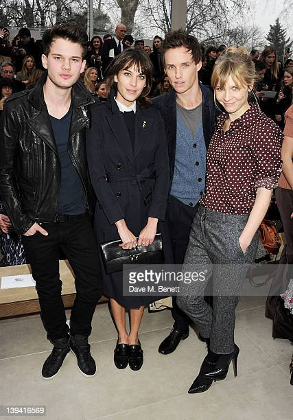 Jeremy Irvine Alexa Chung Eddie Redmayne and Clemence Poesy attend the Burberry Autumn Winter 2012 Womenswear Front Row during London Fashion Week at...
