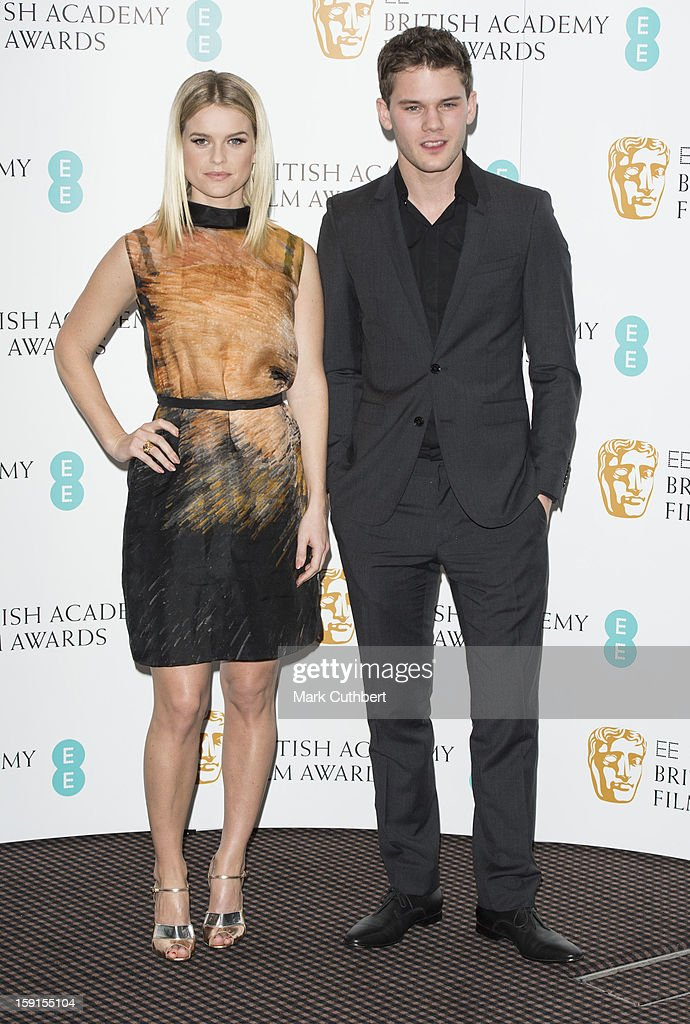 Jeremy Irvine and Alice Eve attend as the nominations for the EE British Academy Film Awards are announced on January 9, 2013 in London, England.