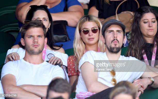 Jeremy Irvine and Jessica Woodley attend Wimbledon 2017 as evian guests during day 3 on July 5 2017 in London England