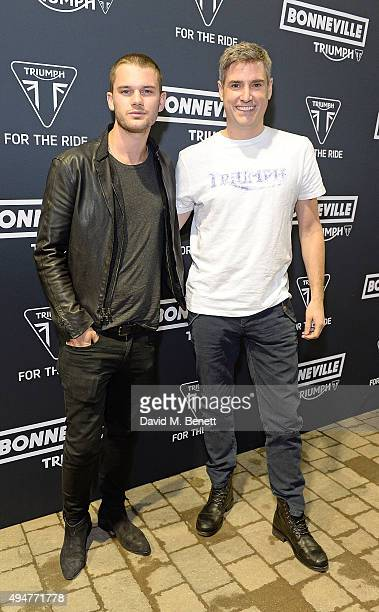 Jeremy Irvine and Nick Bloor attend the Global Triumph Bonneville launch on October 28 2015 in London England