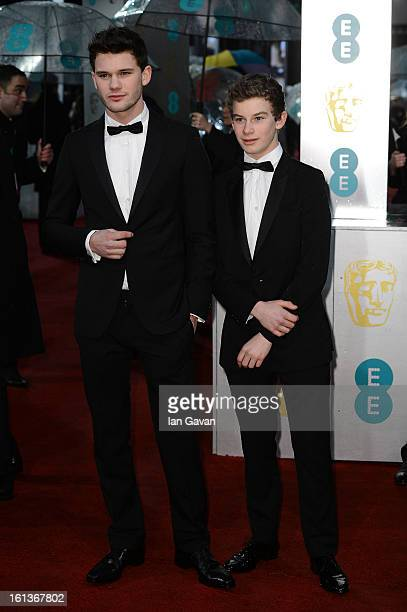 Jeremy Irvine and Toby Irvine attend the EE British Academy Film Awards at The Royal Opera House on February 10 2013 in London England