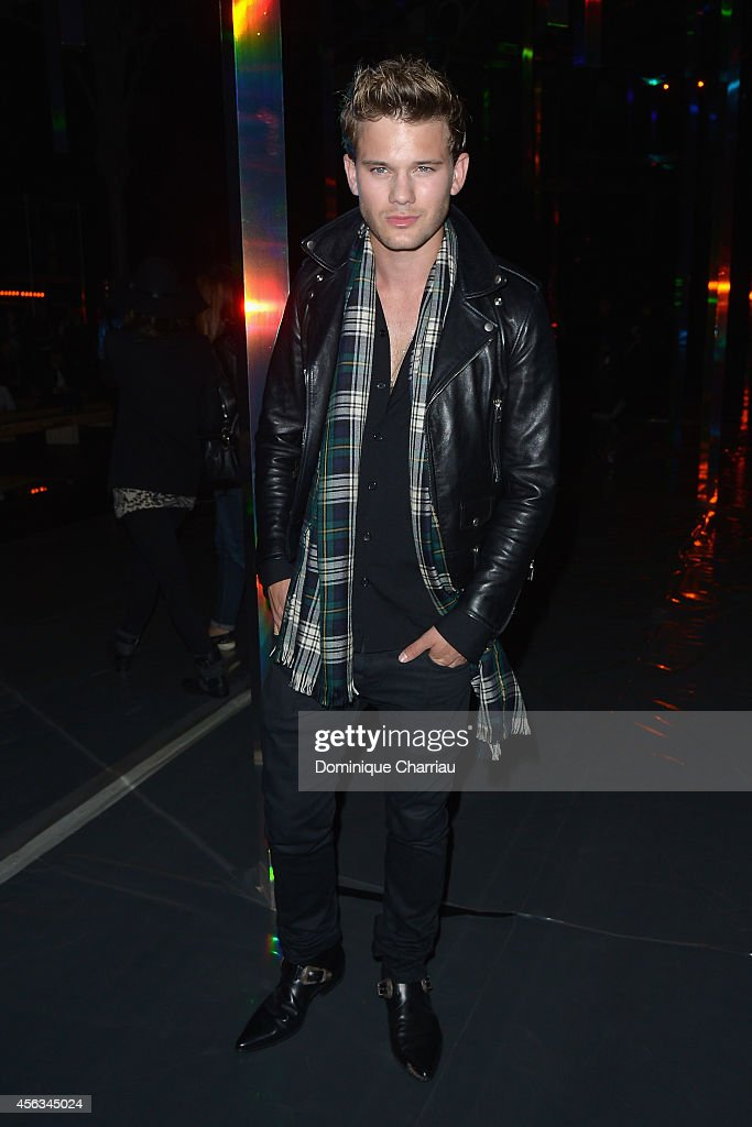 <a gi-track='captionPersonalityLinkClicked' href=/galleries/search?phrase=Jeremy+Irvine&family=editorial&specificpeople=7595423 ng-click='$event.stopPropagation()'>Jeremy Irvine</a> attends the Saint Laurent show as part of the Paris Fashion Week Womenswear Spring/Summer 2015 on September 29, 2014 in Paris, France.