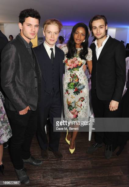 Jeremy Irvine Freddie Fox Naomie Harris and Douglas Booth attend the Audi Royal Polo Challenge 2013 at Chester Racecourse on May 29 2013 in Chester...
