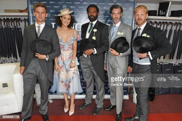Jeremy Irvine Nathalie Emmanuel Nicholas Pinnock Richard Biedul and Alistair Guy attend the Longines suite in the Royal Enclosure during Royal Ascot...