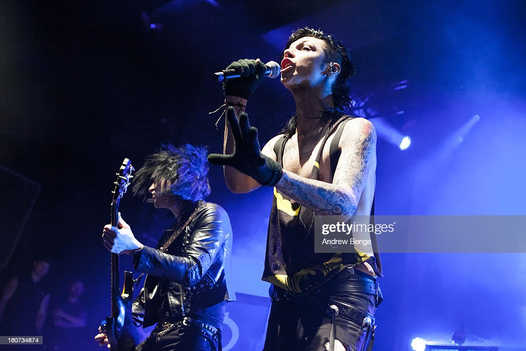 Jeremy 'Jinxx' Ferguson and Andy Biersack of Black Veil Brides perform on stage as part of the Kerrang! Tour 2013 at Manchester Academy on February 4, 2013 in Manchester, England.
