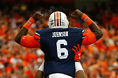 Jeremy Johnson of the Auburn Tigers reacts after scoring a touchdown against the Louisville Cardinals at Georgia Dome on September 5 2015 in Atlanta...