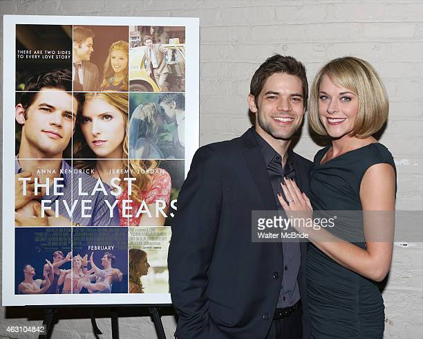 Jeremy Jordan and Ashley Spencer attend 'The Last Five Years' premiere screening at the Minetta Lane Theatre on February 9 2015 in New York City