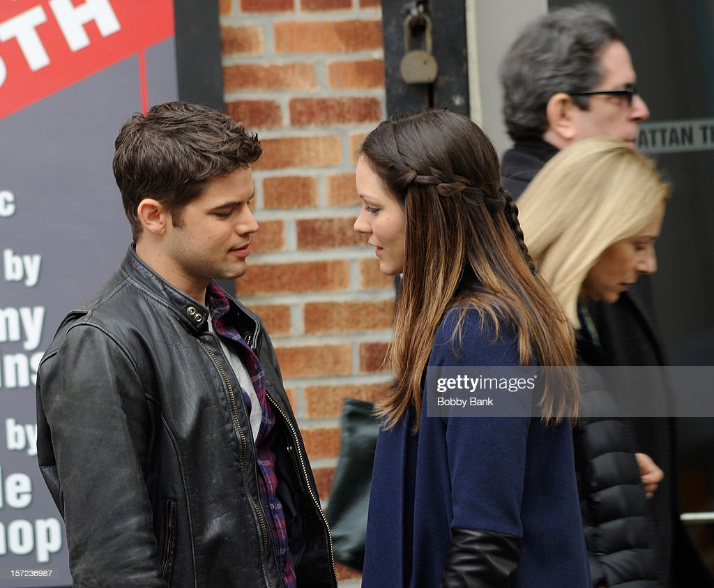Jeremy Jordan (L) and <a gi-track='captionPersonalityLinkClicked' href=/galleries/search?phrase=Katharine+McPhee&family=editorial&specificpeople=581492 ng-click='$event.stopPropagation()'>Katharine McPhee</a> on location for tv series 'Smash' on November 30, 2012 in New York City.