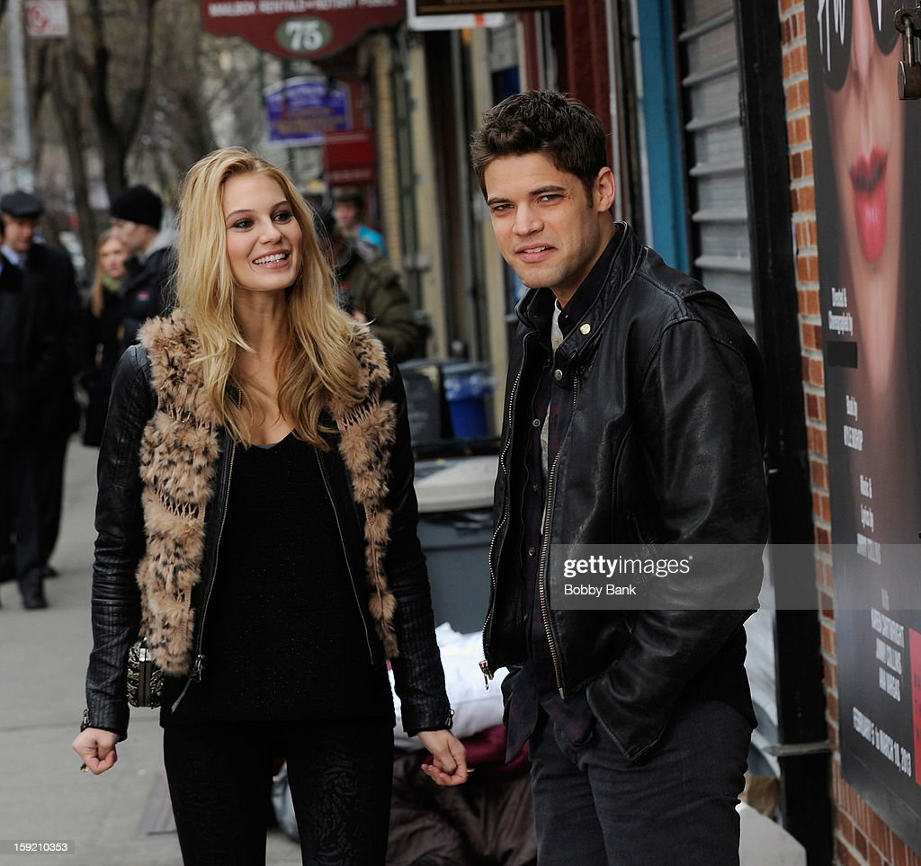 Jeremy Jordan and Scarlet Benchley filming on location for 'Smash' on January 9, 2013 in New York City.