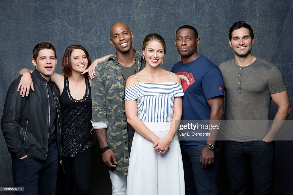 Jeremy Jordan, Chyler Leigh, Mehcad Brooks, Melissa Benoist, David Harwood, Sarah Schechter, and Tyler Hoechlin of 'Supergirl' are photographed for Los Angeles Times at San Diego Comic Con on July 22, 2016 in San Diego, California.
