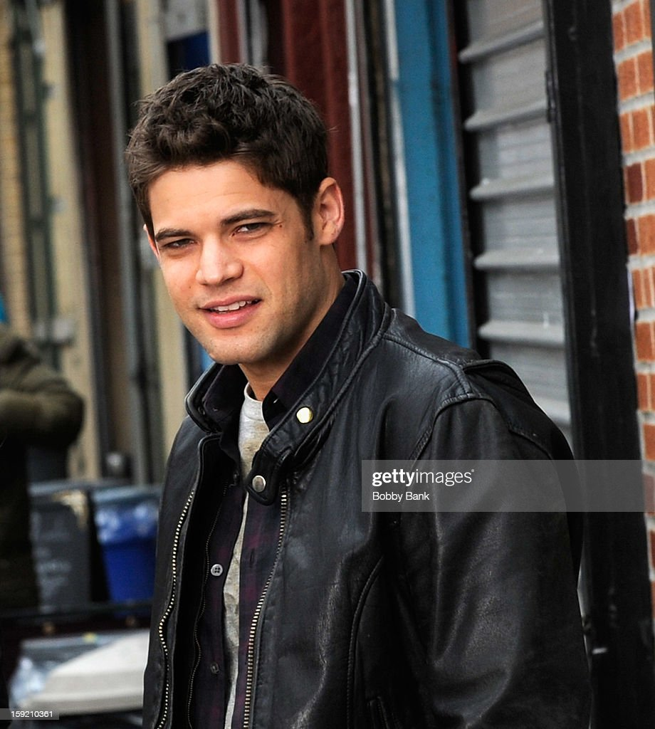 Jeremy Jordan filming on location for 'Smash' on January 9, 2013 in New York City.