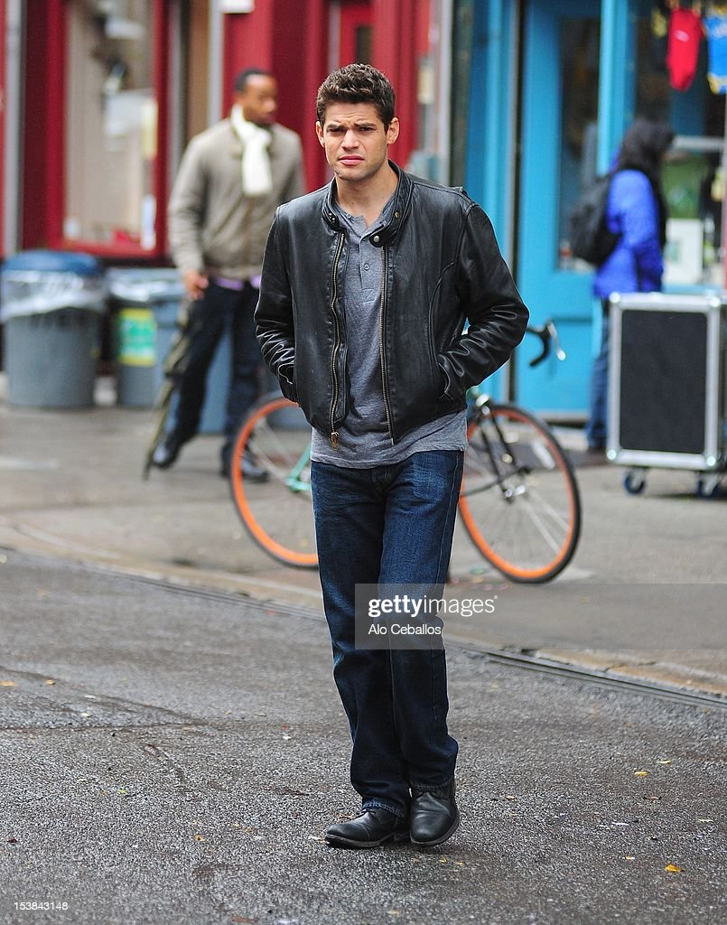 Jeremy Jordan is seen on the set of 'Smash' on October 9, 2012 in New York City.