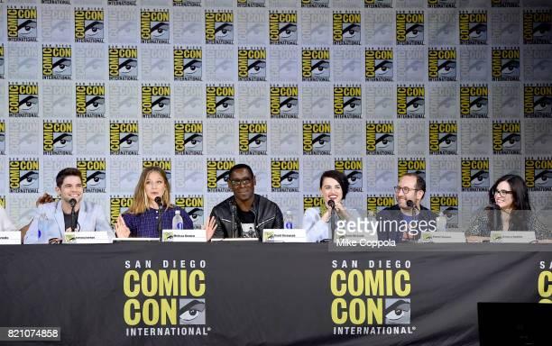 Jeremy Jordan Melissa Benoist David Harewood Katie McGrath Robert L Rovner and Jessica Queller attend the 'Supergirl' special video presentation...