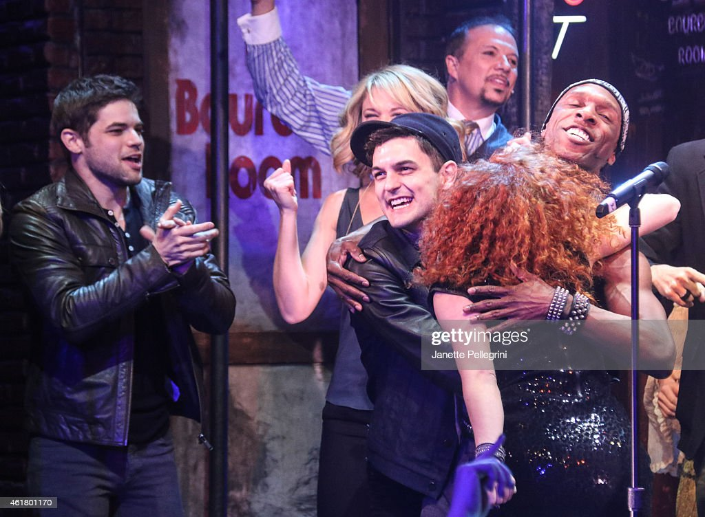 Jeremy Jordan Wesley Taylor and Lauren Molina attend 'Rock Of Ages' Final Performance On Broadway at Helen Hayes Theatre on January 18 2015 in New...
