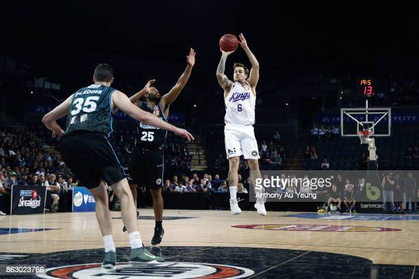 Jeremy Kendle of the Kings takes a jumpshot during the round three NBL match between the New Zealand Breakers and the Sydney Kings at Spark Arena on...