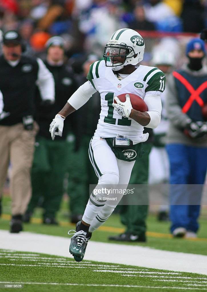 <a gi-track='captionPersonalityLinkClicked' href=/galleries/search?phrase=Jeremy+Kerley&family=editorial&specificpeople=4779050 ng-click='$event.stopPropagation()'>Jeremy Kerley</a> #11 of the New York Jets runs after a catch against the Buffalo Bills at Ralph Wilson Stadium on December 30, 2012 in Orchard Park, New York.