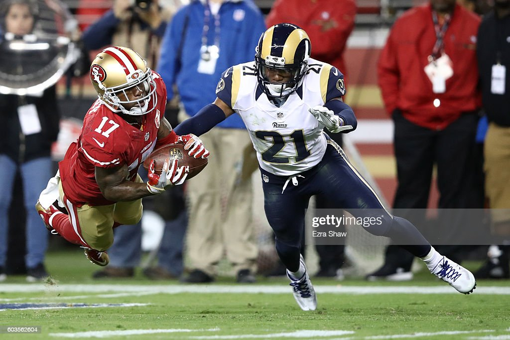 Jeremy Kerley #17 of the San Francisco 49ers makes a catch against the Los Angeles Rams during their NFL game at Levi's Stadium on September 12, 2016 in Santa Clara, California.
