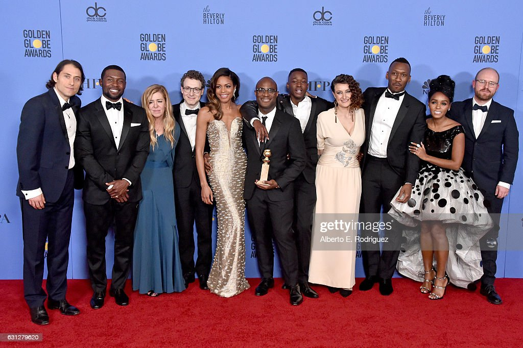 Jeremy Kleiner, Trevante Rhodes, Dede Gardner, Nicholas Britell, Naomie Harris, Barry Jenkins, Ashton Sanders, Adele Romanski, Mahershala Ali, Janelle Monae and James Laxton of 'Moonlight,' winners of Best Motion Picture - Drama, pose in the press room during the 74th Annual Golden Globe Awards at The Beverly Hilton Hotel on January 8, 2017 in Beverly Hills, California.