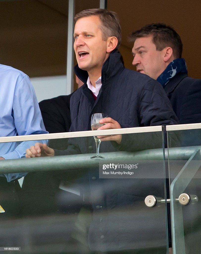Jeremy Kyle cheers 'Cue Card' to victory in the Betfair Ascot Steeple Chase at Ascot Racecourse on February 16, 2013 in Ascot, England.
