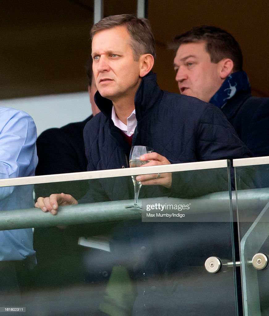 Jeremy Kyle watches 'Cue Card' win the Betfair Ascot Steeple Chase at Ascot Racecourse on February 16, 2013 in Ascot, England.