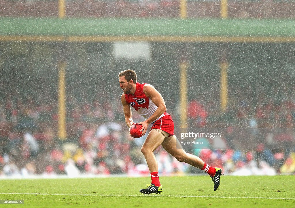 Jeremy Laidler of the Swans runs towards goal during the round four AFL match between the Sydney Swans and the North Melbourne Kangaroos at Sydney Cricket Ground on April 13, 2014 in Sydney, Australia.