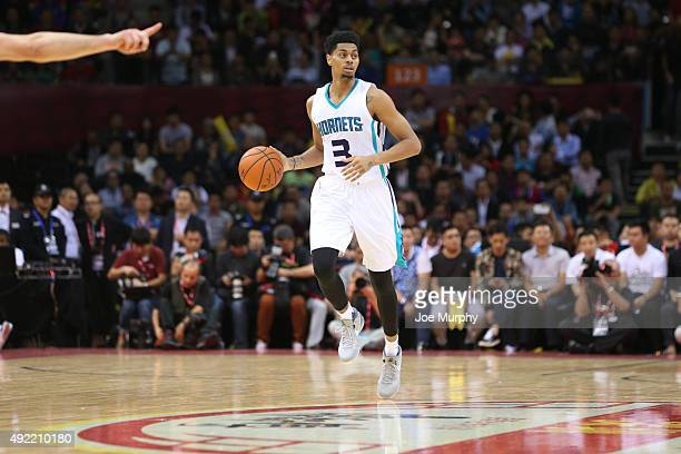 Jeremy Lamb of the Charlotte Hornets drives against the Los Angeles Clippers as part of the 2015 NBA Global Games China at the Shenzhen Universiade...