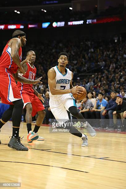 Jeremy Lamb of the Charlotte Hornets drives against the Los Angeles Clippers as part of the 2015 NBA Global Games China at the MercedesBenz Arena on...