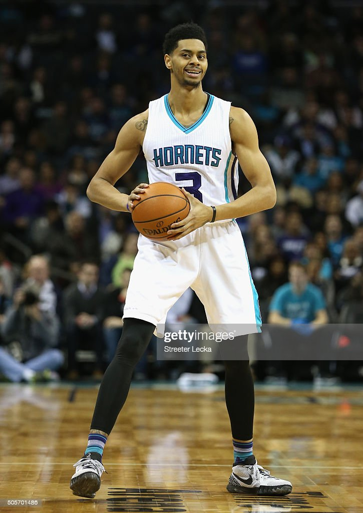Jeremy Lamb #3 of the Charlotte Hornets during their game at Time Warner Cable Arena on January 13, 2016 in Charlotte, North Carolina.