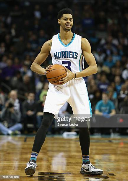 Jeremy Lamb of the Charlotte Hornets during their game at Time Warner Cable Arena on January 13 2016 in Charlotte North Carolina NOTE TO USER User...