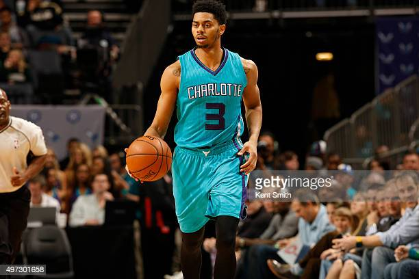 Jeremy Lamb of the Charlotte Hornets handles the ball against the Portland Trail Blazers on November 15 2015 at Time Warner Cable Arena in Charlotte...