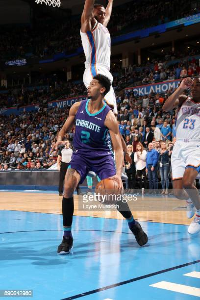 Jeremy Lamb of the Charlotte Hornets handles the ball during the game against the Oklahoma City Thunder on December 11 2017 at Chesapeake Energy...