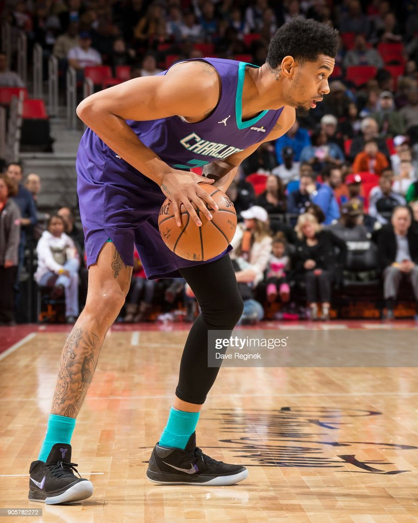 Jeremy Lamb #3 of the Charlotte Hornets moves the ball up court against the Detroit Pistons during the an NBA game at Little Caesars Arena on January 15, 2018 in Detroit, Michigan.