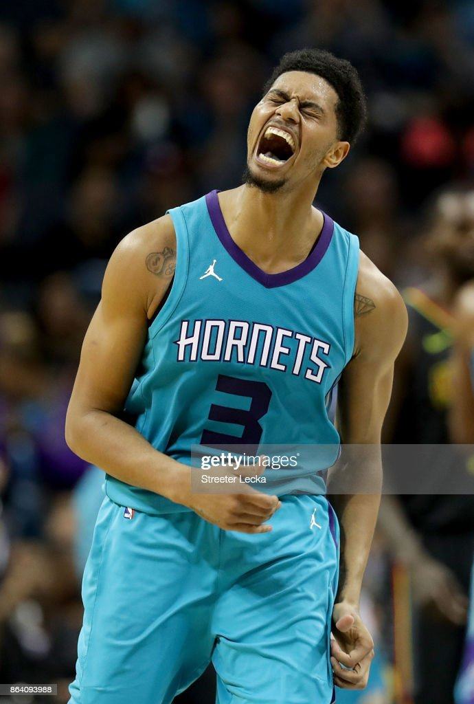 Jeremy Lamb #3 of the Charlotte Hornets reacts after a play against the Atlanta Hawks during their game at Spectrum Center on October 20, 2017 in Charlotte, North Carolina.