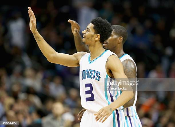 Jeremy Lamb of the Charlotte Hornets reacts after a play during their game against the Chicago Bulls at Time Warner Cable Arena on November 3 2015 in...