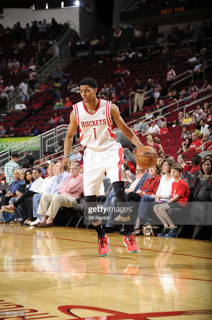 <a gi-track='captionPersonalityLinkClicked' href=/galleries/search?phrase=Jeremy+Lamb&family=editorial&specificpeople=7407506 ng-click='$event.stopPropagation()'>Jeremy Lamb</a> #1 of the Houston Rockets drives the ball against the San Antonio Spurs during a pre-season game on October 14, 2012 at the Toyota Center in Houston, Texas.