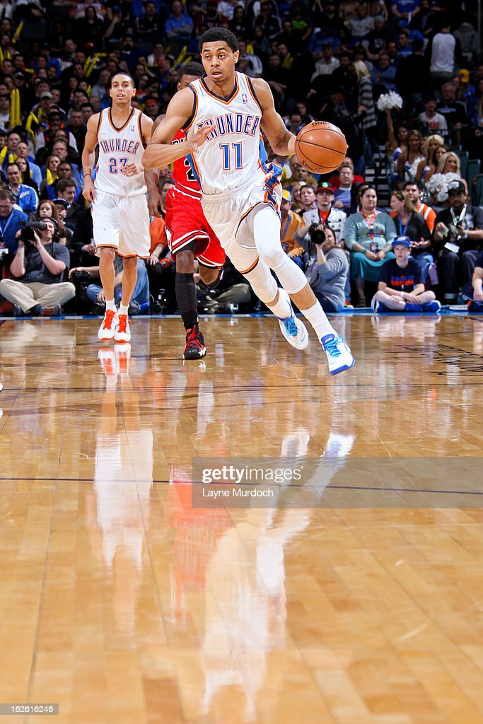 <a gi-track='captionPersonalityLinkClicked' href=/galleries/search?phrase=Jeremy+Lamb&family=editorial&specificpeople=7407506 ng-click='$event.stopPropagation()'>Jeremy Lamb</a> #11 of the Oklahoma City Thunder advances the ball against the Chicago Bulls on February 24, 2013 at the Chesapeake Energy Arena in Oklahoma City, Oklahoma.