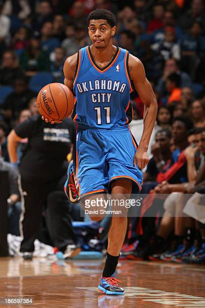 Jeremy Lamb of the Oklahoma City Thunder brings the ball up court against the Minnesota Timberwolves during the game on November 1 2013 at Target...