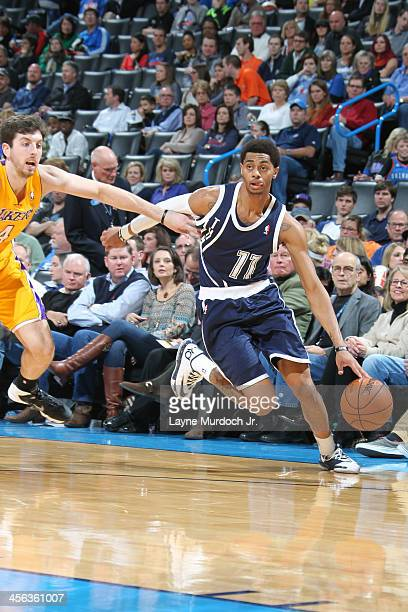 Jeremy Lamb of the Oklahoma City Thunder drives to the basket against the Los Angeles Lakers on December 13 2013 at the Chesapeake Energy Arena in...