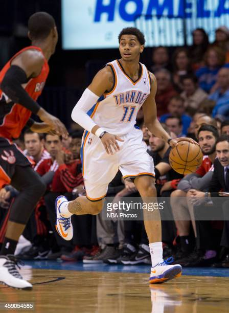 Jeremy Lamb of the Oklahoma City Thunder handles the ball against the Toronto Raptors at the Chesapeake Arena on December 2013 in Oklahoma City...
