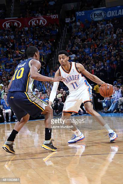 Jeremy Lamb of the Oklahoma City Thunder handles the ball against the Utah Jazz on March 30 2014 at the Chesapeake Energy Arena in Oklahoma City...