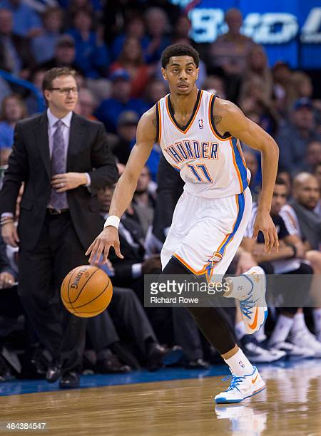 Jeremy Lamb of the Oklahoma City Thunder handling the ball during a game against the Portland Trail Blazers at the Chesapeake Arena on January 21...